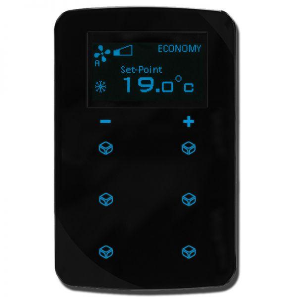KNX Raum Thermostat Taster inklusive Busankoppler, mit Display und 6 Tasten (schwarz, rund)