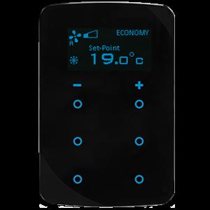 KNX Thermostat Taster mit Display und 6 Tasten (schwarz, runde Ecken)