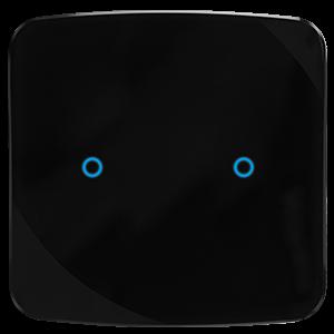 KNX Glastaster in schwarz mit 2 Tasten